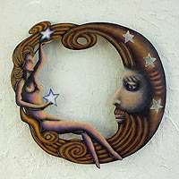 Steel wall art, 'Ageless Moon' - Handmade Moon Sculpture for the Wall
