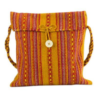 Wool flap bag, 'Zapotec Fire' - Mexican Zapotec Wool Shoulder Bag