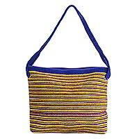 Wool shoulder bag, 'Sunny Zapotec Skies' - Yellow and Blue Zapotec Wool Shoulder Bag