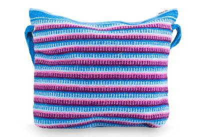 Blue and Orchid Zapotec Wool Shoulder Bag