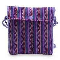 Wool flap bag, 'Zapotec Orchids' - Purple Handwoven Mexican Shoulder Bag