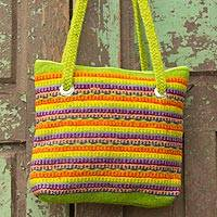 Wool shoulder bag, 'Fiesta in Teotitlan' - Multicolor Zapotec Wool Shoulder Bag