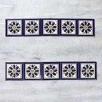 Ceramic tiles, 'Cobalt Margaritas' (set of 10) - Hand Painted Mexican Ceramic Tiles (set of 10)