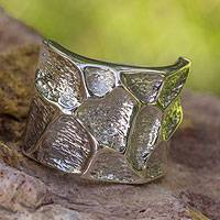 Sterling silver band ring, 'Cobblestone Journey' - Original Sterling Silver Band Ring