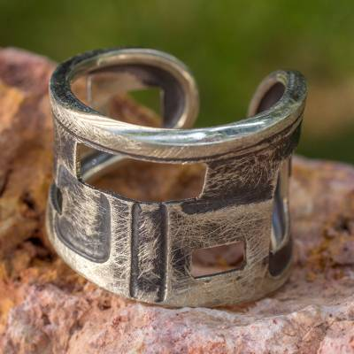 Sterling silver band ring, 'Mondrian Inspiration' - Original Sterling Silver Band Ring