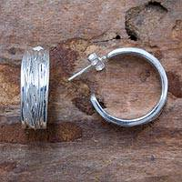 Sterling silver half hoop earrings, 'Roots of Life' - Original Sterling Silver Half Hoop Earrings