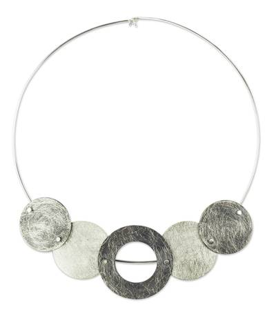 Sterling silver choker necklace, 'Midnight Eclipses' - Unique Sterling Silver Choker Necklace