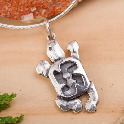 Sterling silver pendant necklace, 'Sea Turtle' - Handcrafted Mexican Silver Necklace