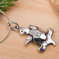 Sterling silver pendant necklace, 'Sea Turtle in Motion' - Sterling Silver Pendant Necklace from Mexico