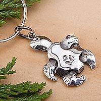 Sterling silver pendant necklace, 'Turtle Puzzle'