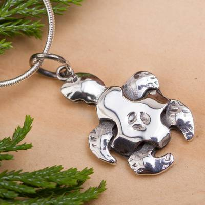 Sterling silver pendant necklace, 'Turtle Puzzle' - Sterling Silver Turtle Necklace