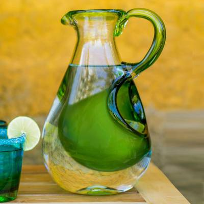Blown glass pitcher with ice chamber, Fresh Lemon