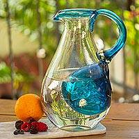 Featured review for Blown glass pitcher with ice chamber, Fresh Caribbean