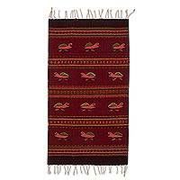 Zapotec wool rug, 'Red Turtles' (2x3.5) - Modern Red Turtle Theme Zapotec Accent Rug (2x3)