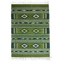 Zapotec wool rug, 'Emerald Sky' (4x6.5)