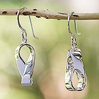 Sterling silver dangle earrings, 'Modern Mobius' - Handmade Modern Taxco Silver Earrings