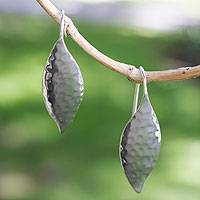 Sterling silver drop earrings, 'Dewy Leaves' - Sterling Silver Leaf Earrings from Taxco