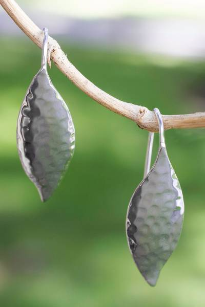 Sterling silver drop earrings, 'Dewy Leaves' - Taxco Silver jewellery Handcrafted Earrings