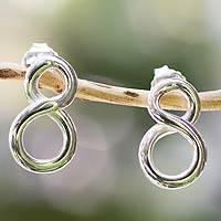 Sterling silver button earrings, 'Infinity' - Taxco Silver Jewelry Handcrafted Earrings