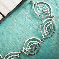 Sterling silver link necklace, 'Ancient Eyes' - Taxco Silver Jewelry Handcrafted Link Necklace