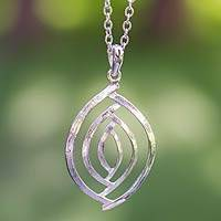 Sterling silver pendant necklace, 'Ancient Eyes' - Taxco Silver Jewelry Handcrafted Earrings