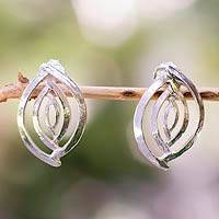 Sterling silver button earrings, 'Ancient Eyes' - Taxco Silver Jewelry Handcrafted Earrings
