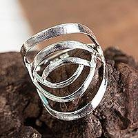 Sterling silver cocktail ring, 'Freedom Song' - Taxco Sterling Silver Modern Cocktail Ring