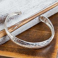 Sterling silver cuff bracelet, 'Taxco Lineage' - Taxco Silver Jewelry Handcrafted Cuff Bracelet