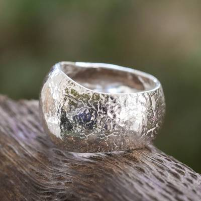 Sterling silver domed ring, 'Earth Whisper' - Taxco Sterling Silver Wide Handmade Ring