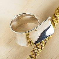 Sterling silver wrap ring, 'Reach Out' - Wide Sterling SIlver Wrap Ring