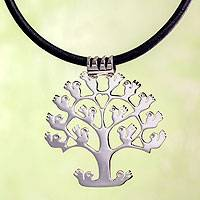 Leather pendant necklace, 'Tree of Birds' - Handcrafted Sterling Silver Pendant on Leather Necklace