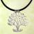 Leather pendant necklace, 'Tree of Birds' - Handcrafted Sterling Silver Pendant on Leather Necklace (image 2) thumbail