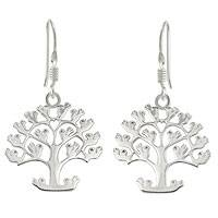 Sterling silver dangle earrings, 'Tree of Birds' - Handcrafted Sterling Silver Earrings from Taxco Jewelry