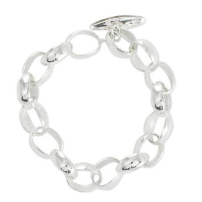 Sterling silver bracelet, 'Shine' - Taxco Silver Jewelry Handcrafted Chain Bracelet