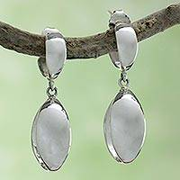 Sterling silver dangle earrings, 'Shine' - Handcrafted Earrings from Taxco Silver Jewelry Collection