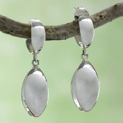 Sterling silver dangle earrings, 'Shine' - Handcrafted Earrings from Taxco Silver jewellery Collection