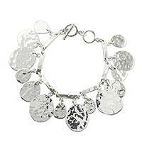 Sterling silver charm bracelet, 'Grand Taxco' - Hammered Sterling Silver Charm Bracelet fromTaxco