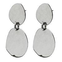 Sterling silver dangle earrings, 'Her Energy' - Fair Trade Sterling Silver Earrings for Women