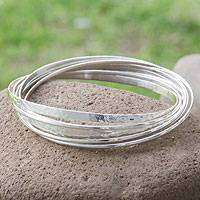 Sterling silver bangle bracelet, 'Rippled Water' - Taxco Sterling Silver Bangle Bracelet