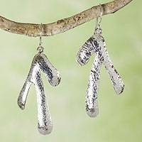 Sterling silver dangle earrings, 'Rivulets' - Taxco Sterling Earrings