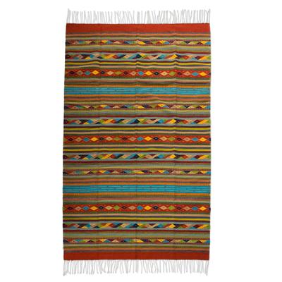 Zapotec wool rug, 'Harmony' (6.5x10) - Handwoven Mexican Zapotec Area Rug (6.5x10)