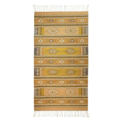 Zapotec wool rug, 'Dramatic Mexican Sun' (5x8) - Eco Friendly Handwoven Virgin Wool Zapotec Rug (5x8)