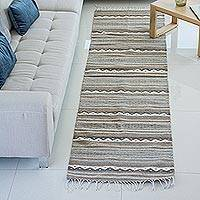 Zapotec wool runner, 'Sierra Plains' (2.6x10) - Hand Made Zapotec grey Brown Wool Runner Rug (2.6x10)