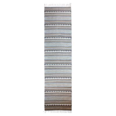 Zapotec wool runner, 'Sierra Plains' (2.6x10) - Hand Made Zapotec grey Brown Wool Runner Rug (2.6x10)