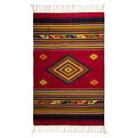 Zapotec wool rug, 'Golden Diamonds' (5x8) - Handwoven Zapotec Red Wool Rug with Diamond Motifs (5x8)