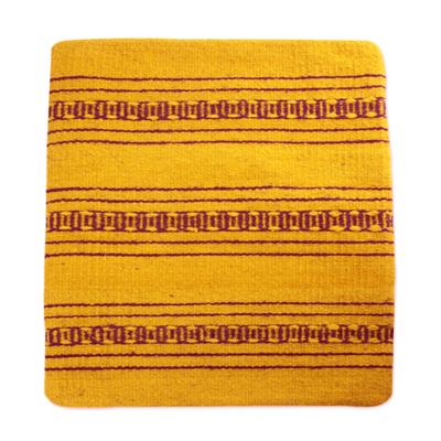 Zapotec wool cushion cover, 'Zapotec Energy' - Handcrafted Wool Zapotec Yellow Cushion Cover