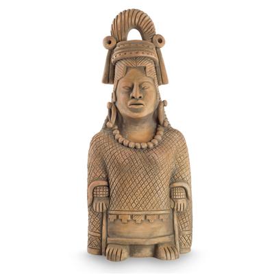 Ceramic sculpture, 'Maya Lady of Weaves' - Collectible Maya Ceramic Sculpture Museum Replica