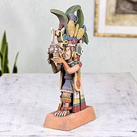Ceramic sculpture, 'Centeotl, God of Corn' - Collectible Aztec Ceramic Sculpture Museum Replica