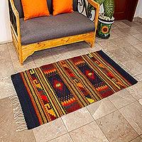 Zapotec wool rug, 'Joyous Sky' (2.5x5) - Mexican Geometric Wool Area Rug (2.5x5)