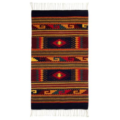 Mexican Geometric Wool Area Rug 2 5x5 Joyous Sky Novica